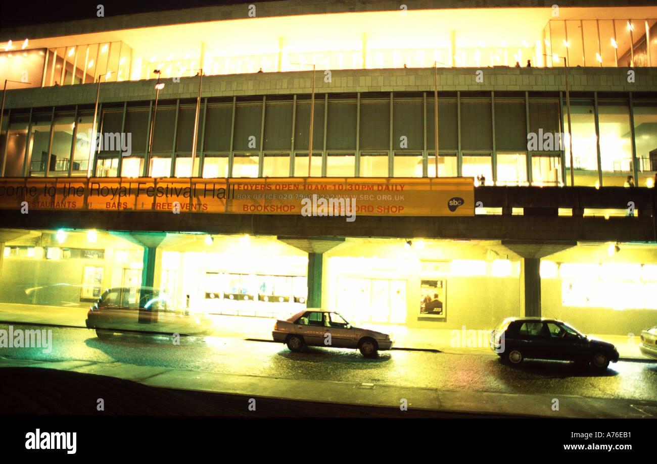 Royal Festival Hall London Embankment at night - Stock Image