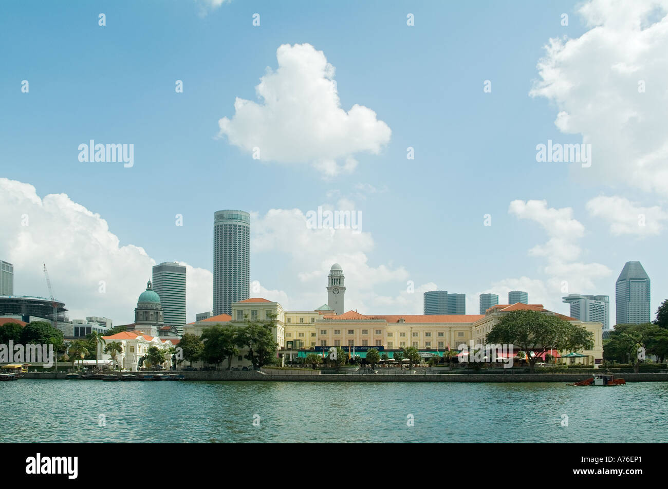 Singapore River and Asian Civilisations Museum - Stock Image