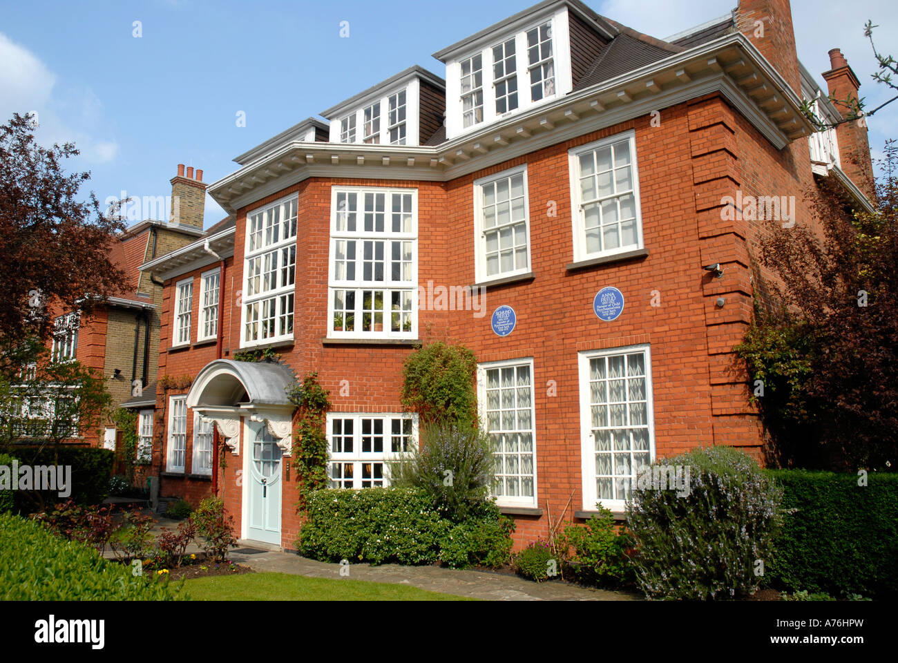 The Freud Museum previously the house where the psychoanalyst Sigmund Freud lived in Maresfield Gardens Hampstead - Stock Image