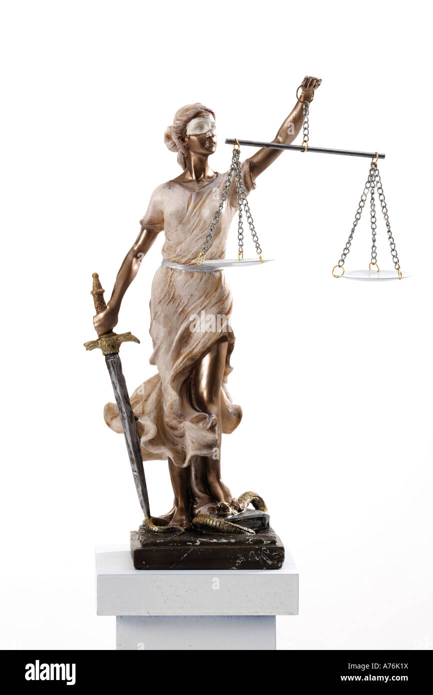 Justitia figurine on socket - Stock Image