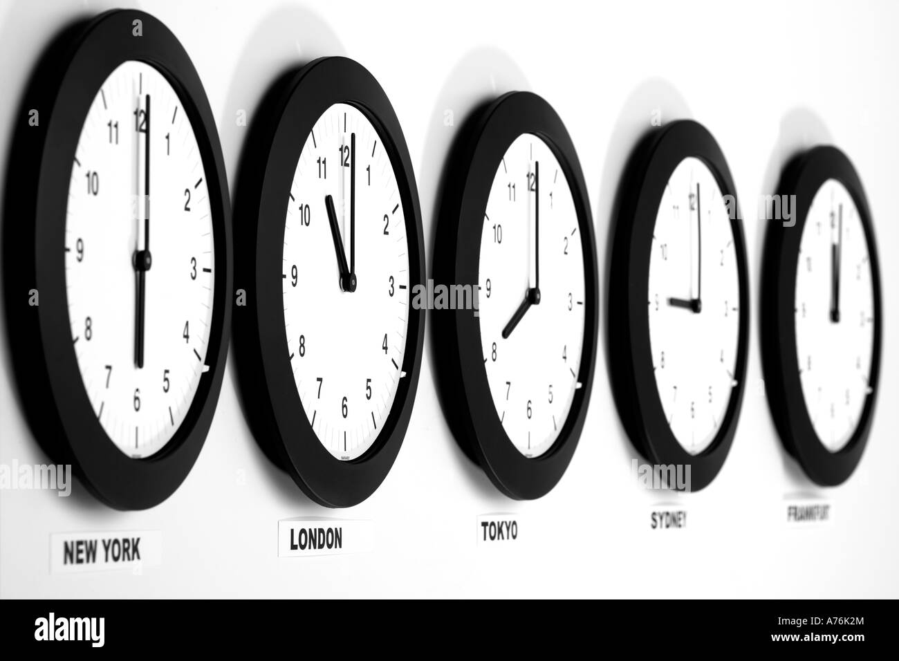 Clocks On Wall Symbol For Greenwich Mean Time Stock Photo 11741323