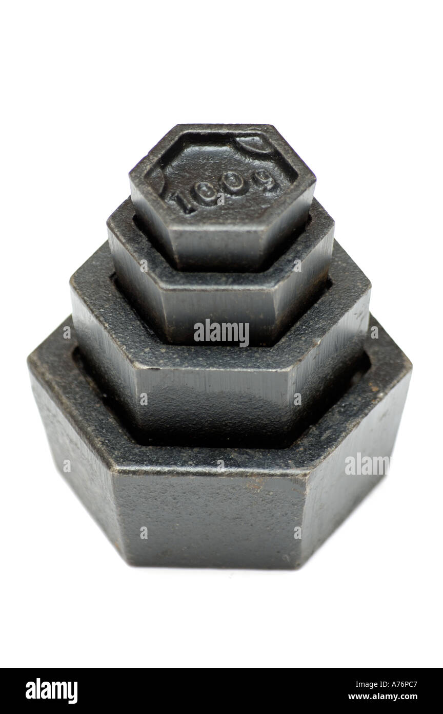 Black Standard metric weights made of iron for weighing scales on white background - Stock Image