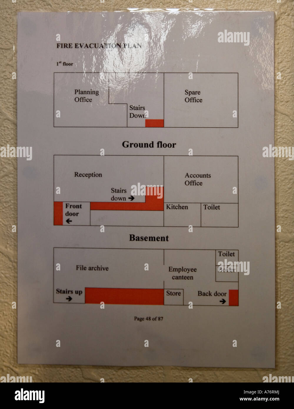 Office Or Business Fire Emergency Floor Plan On The Wall Stock Photo Alamy