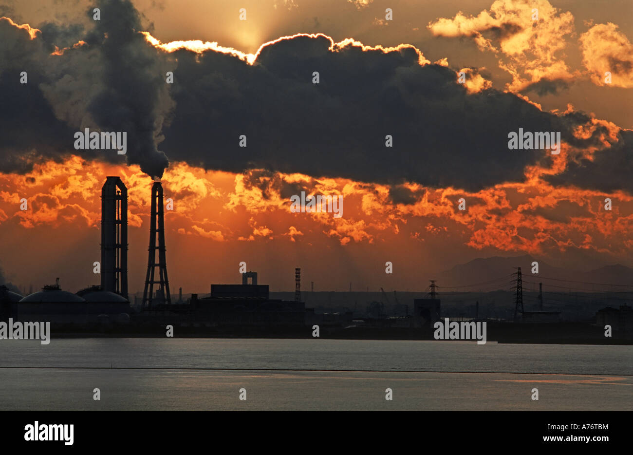 Industrial complex on the outskirts of Nagoya Japan Sunset - Stock Image