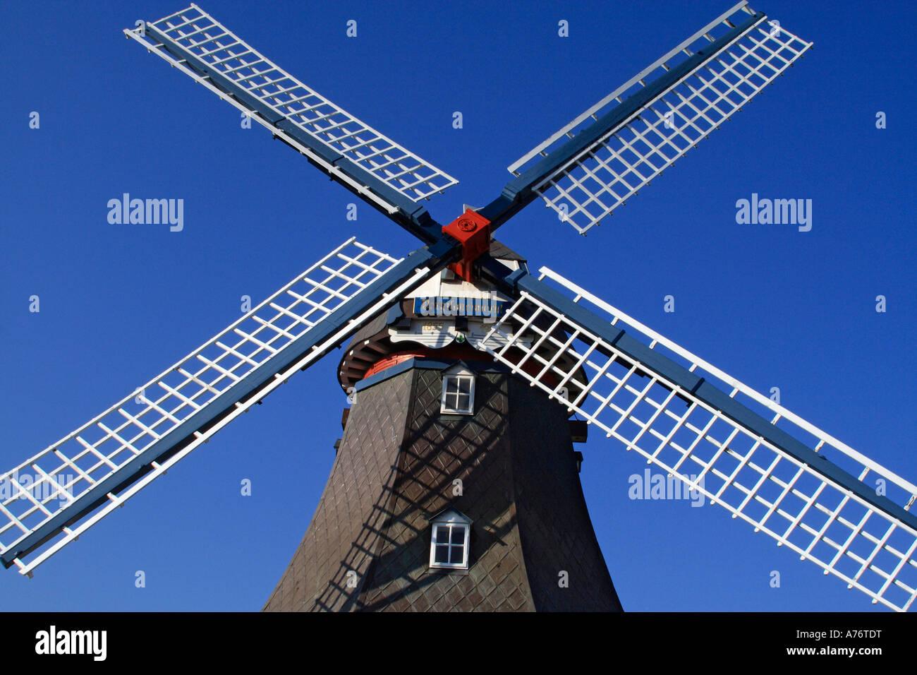 Old windmill build in dutch style - Friedrichskoog, Dithmarschen, Schleswig-Holstein, Germany, Europe - Stock Image