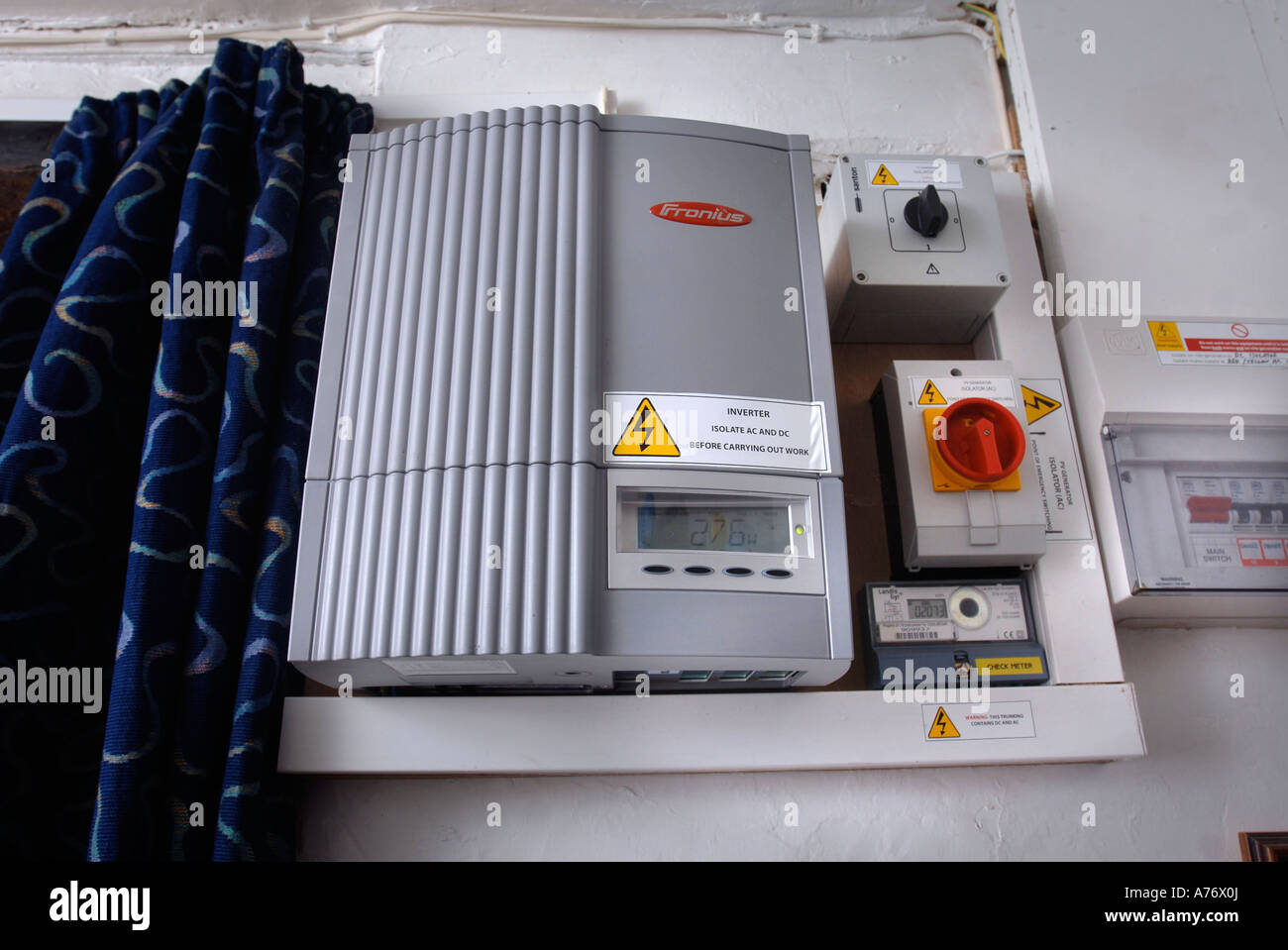 A POWER INVERTER CONTROL BOX IN A HOME WITH SOLAR POWER Stock Photo ...