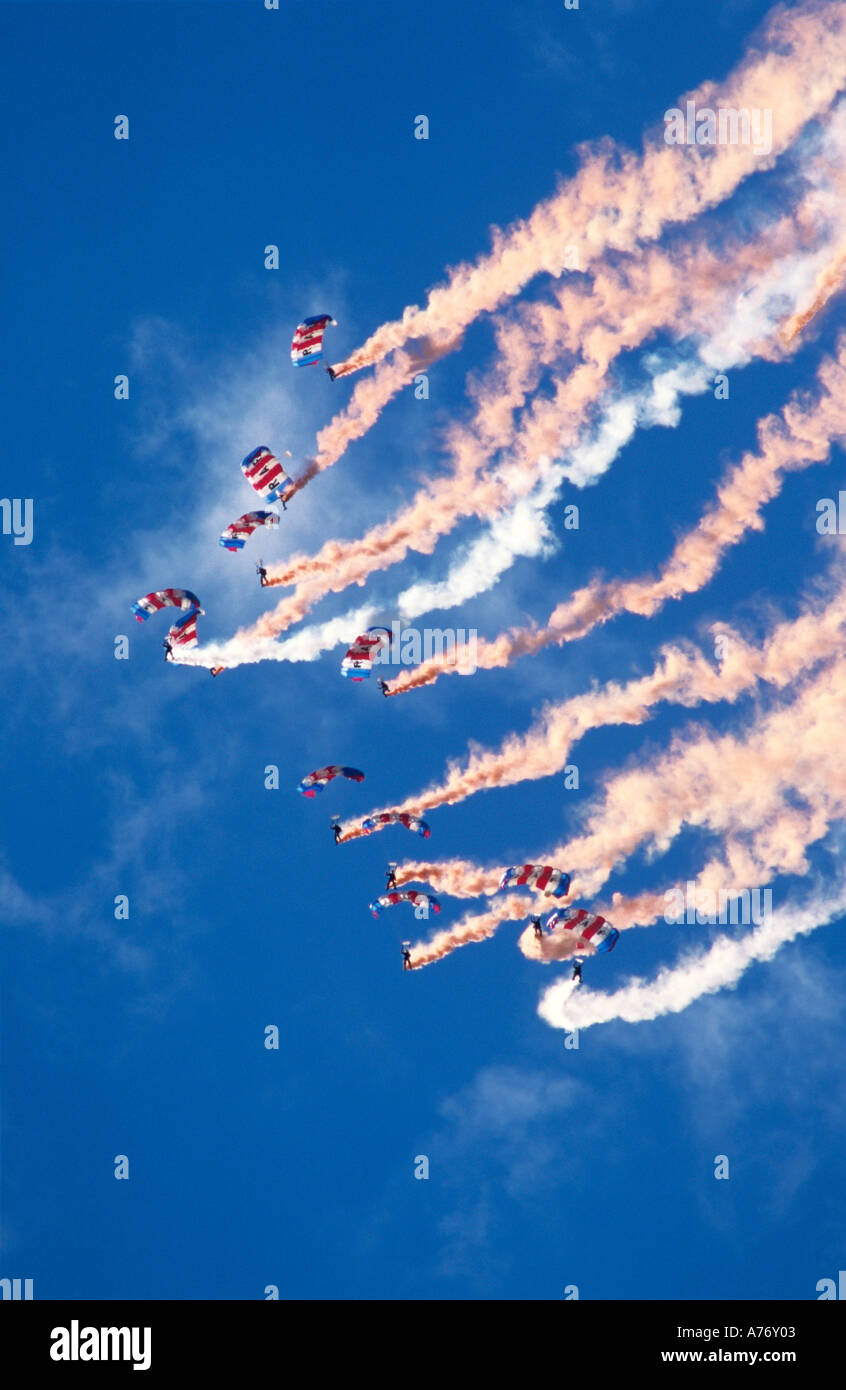 RAF Red Devils Parachute Display team over Silverstone - Stock Image