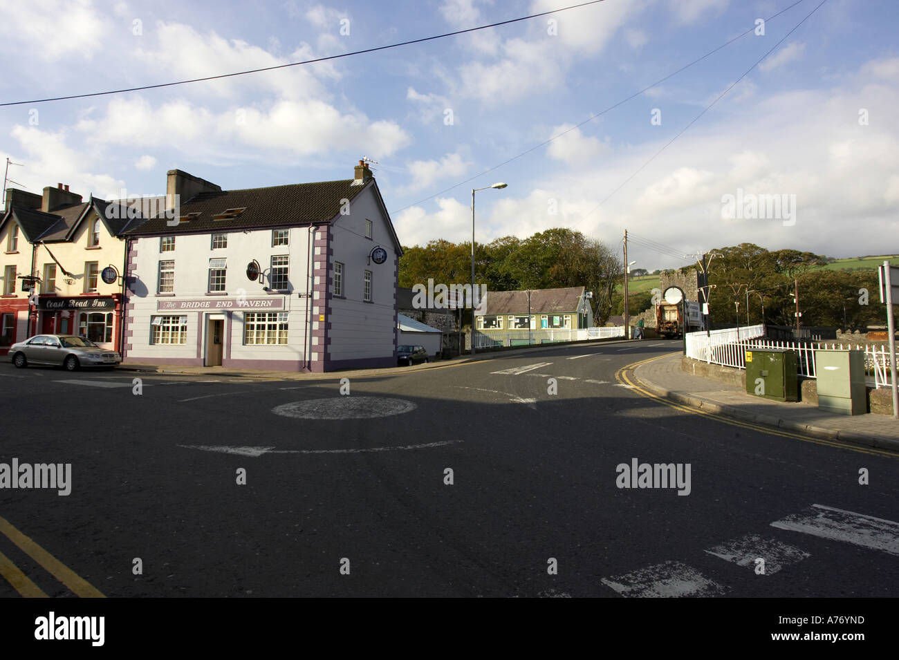 Roundabout on the main A2 coast road Glenarm Village county Antrim Northern Ireland Stock Photo