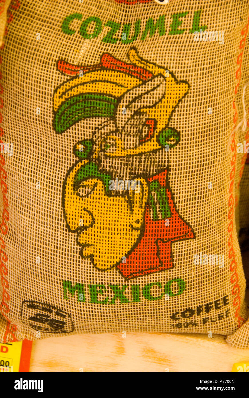 Cozumel Mexico bag of coffee mayan face for advertising - Stock Image