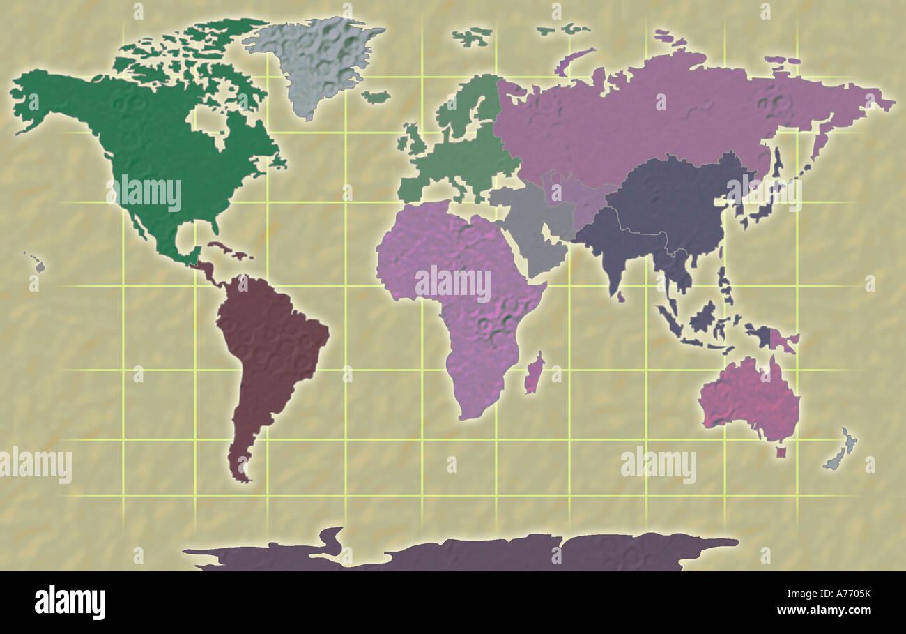 World Map Illustration Stock Photo