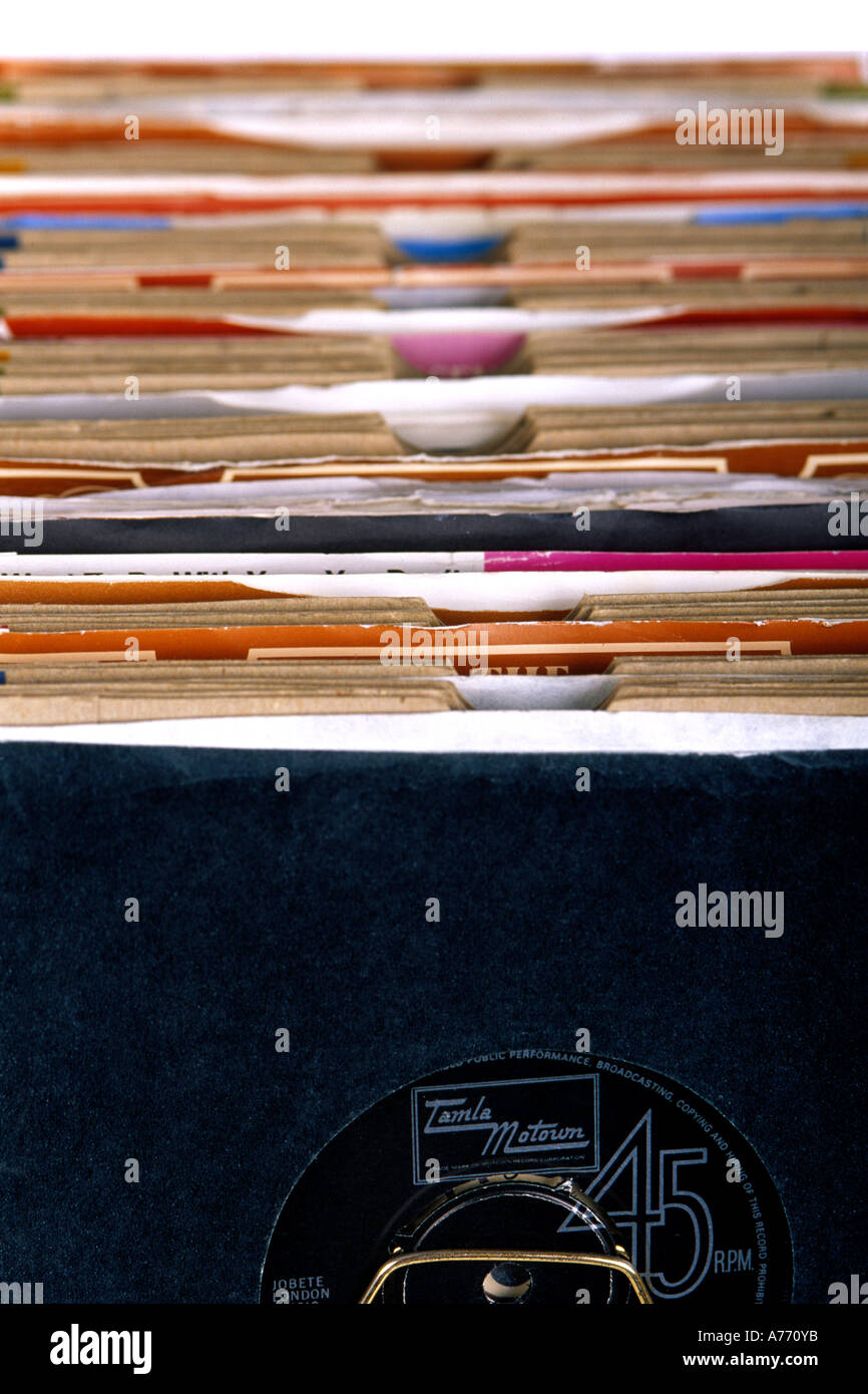 Close up of an old vinyl 45's record collection. - Stock Image