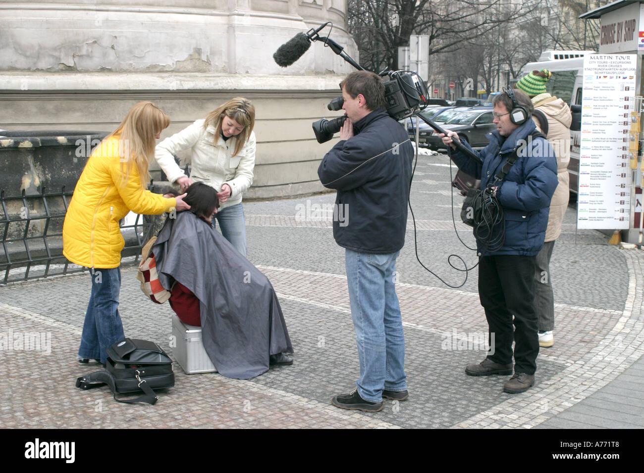 Film Camera Crew Prague March 2006 Stock Photo