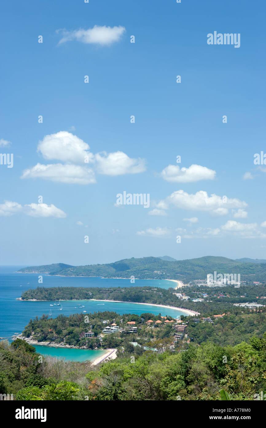 View over Katanoi, Kata and Karon Beaches from Kata Viewpoint, Phuket, Thailand - Stock Image