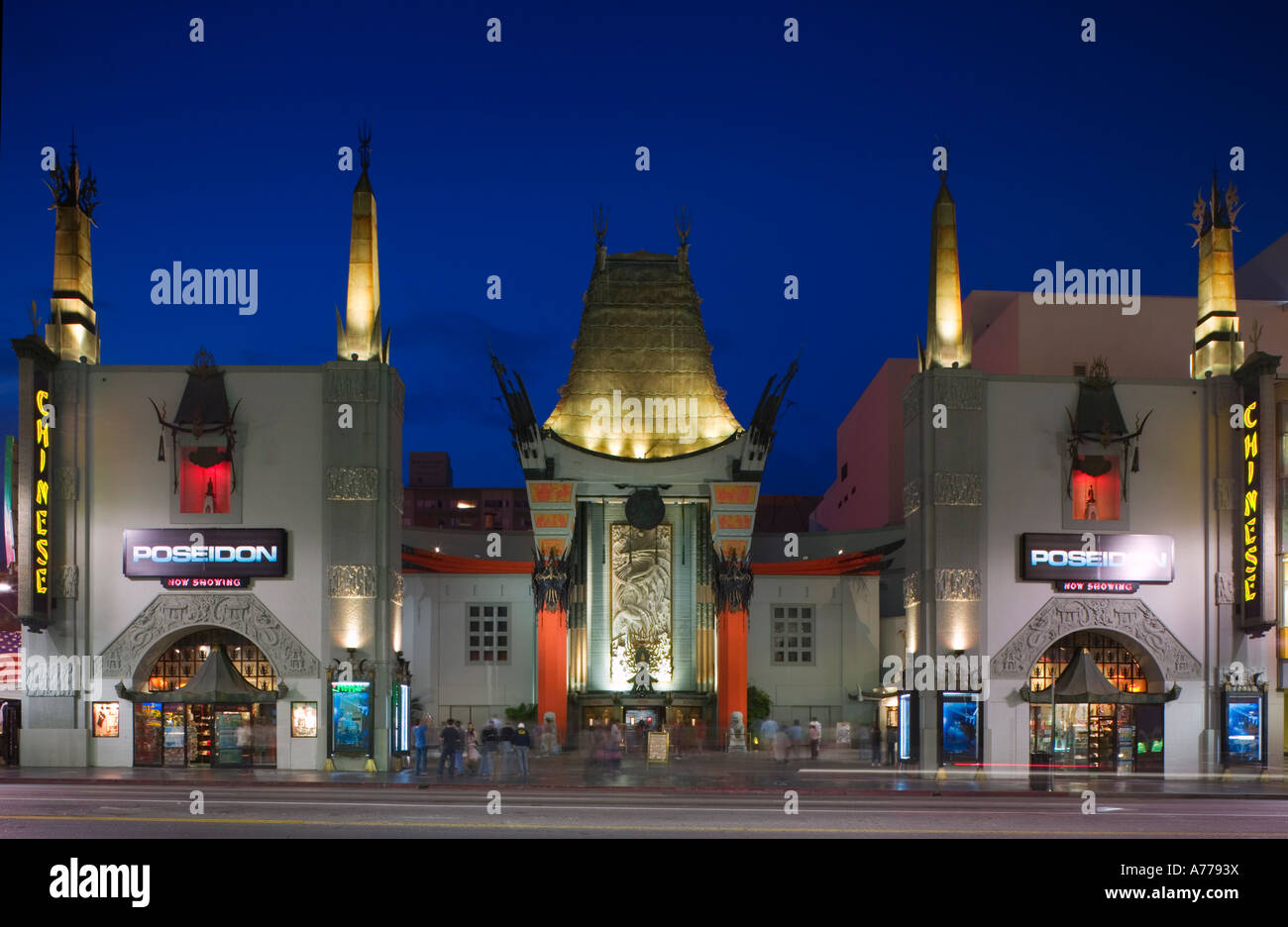 Grauman's Chinese Theatre on Hollywood Boulevard at night. - Stock Image