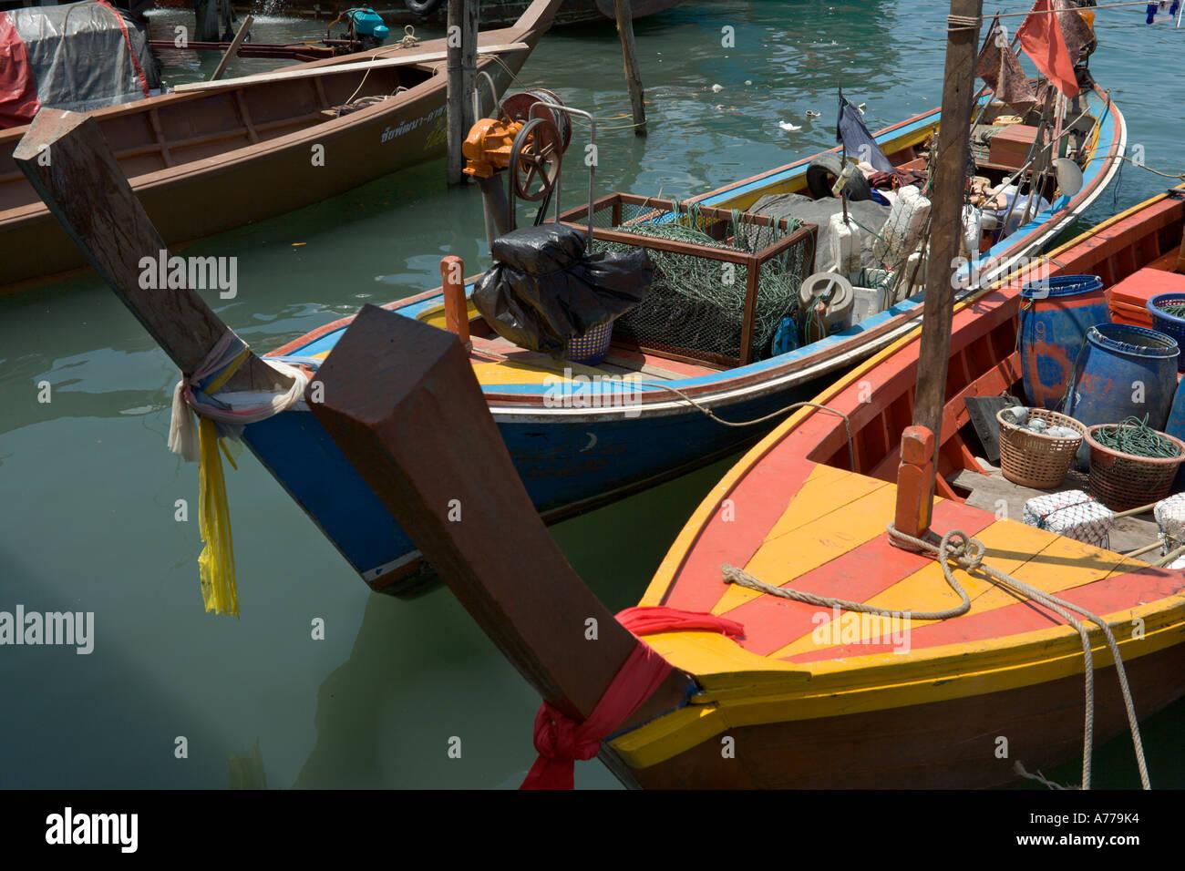 Local fishing boats at Tap Lamu pier, Khao Lak, Phang Nga, Thailand Stock Photo