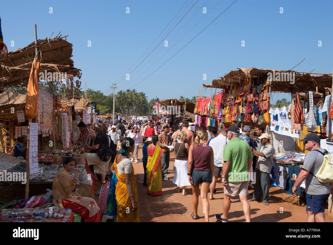 Flea Market, Anjuna Beach, North Goa, Goa, India - Stock Image