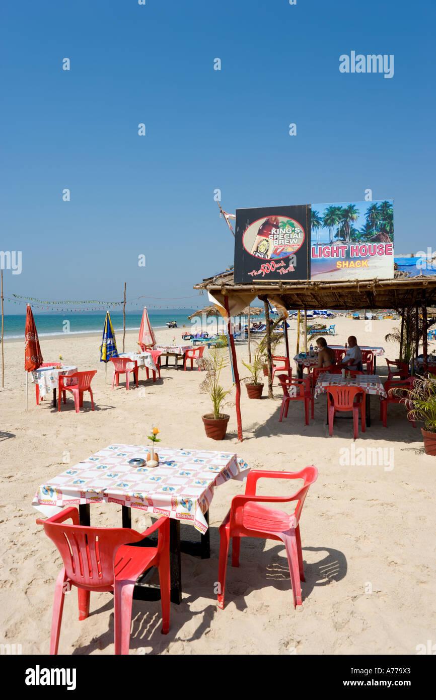 Beach Shack, Utorda Beach, Colva, South Goa, Goa, India - Stock Image