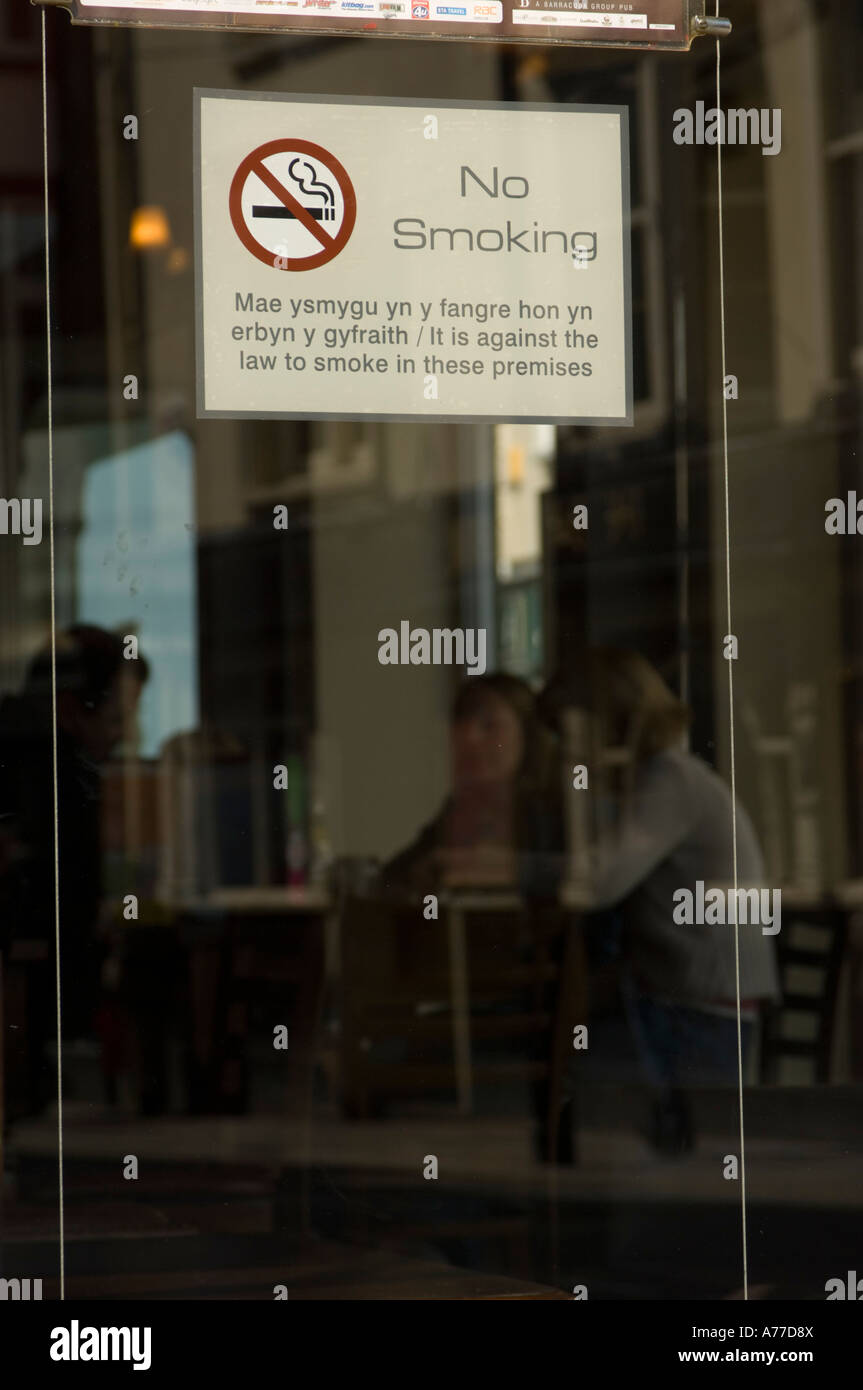 No Smoking Sign On The Glass Door Of A Bar In Aberystwyth After The  Implementation Of