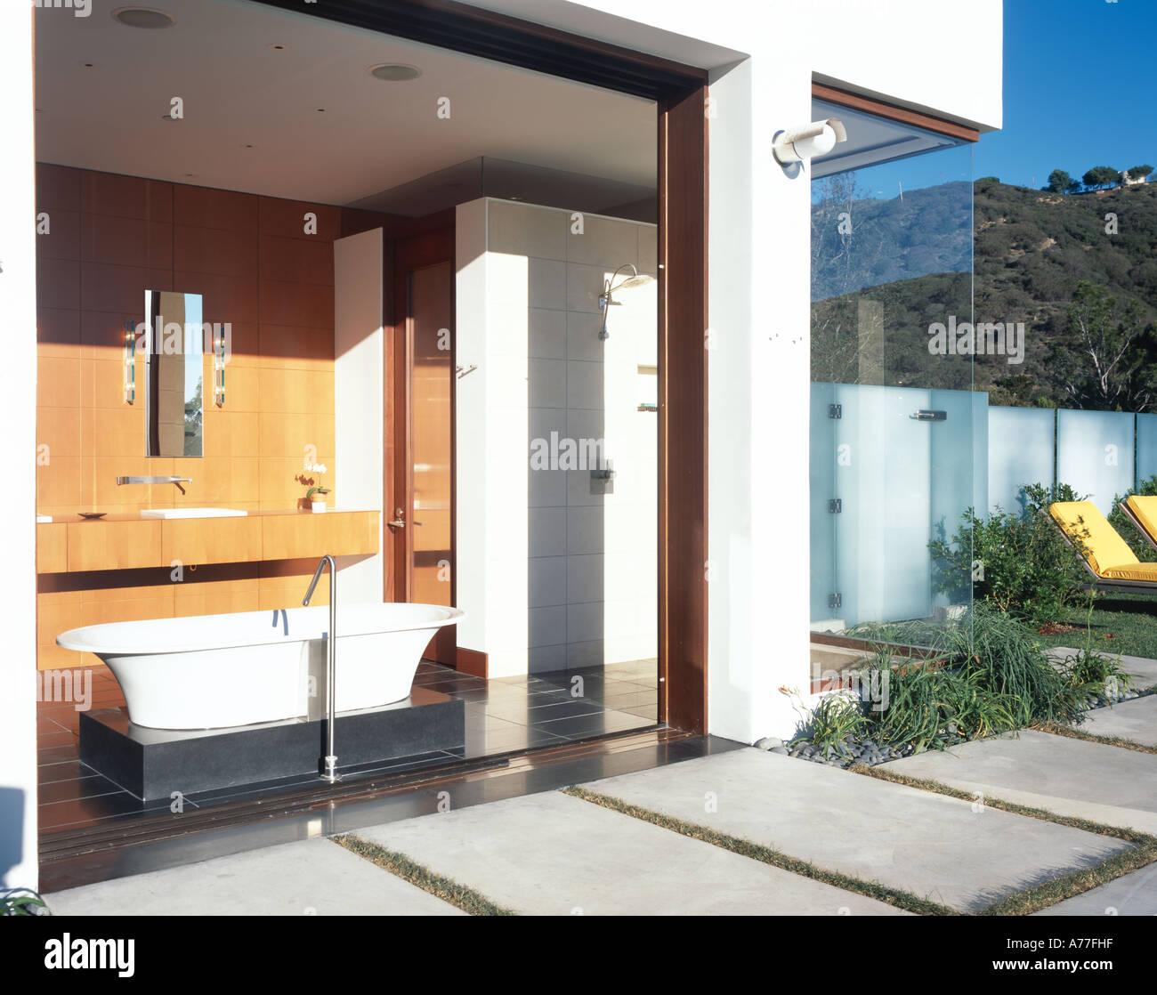 Malibu 4 California Indoor Outdoor Bath Tub Open Sliding Doors