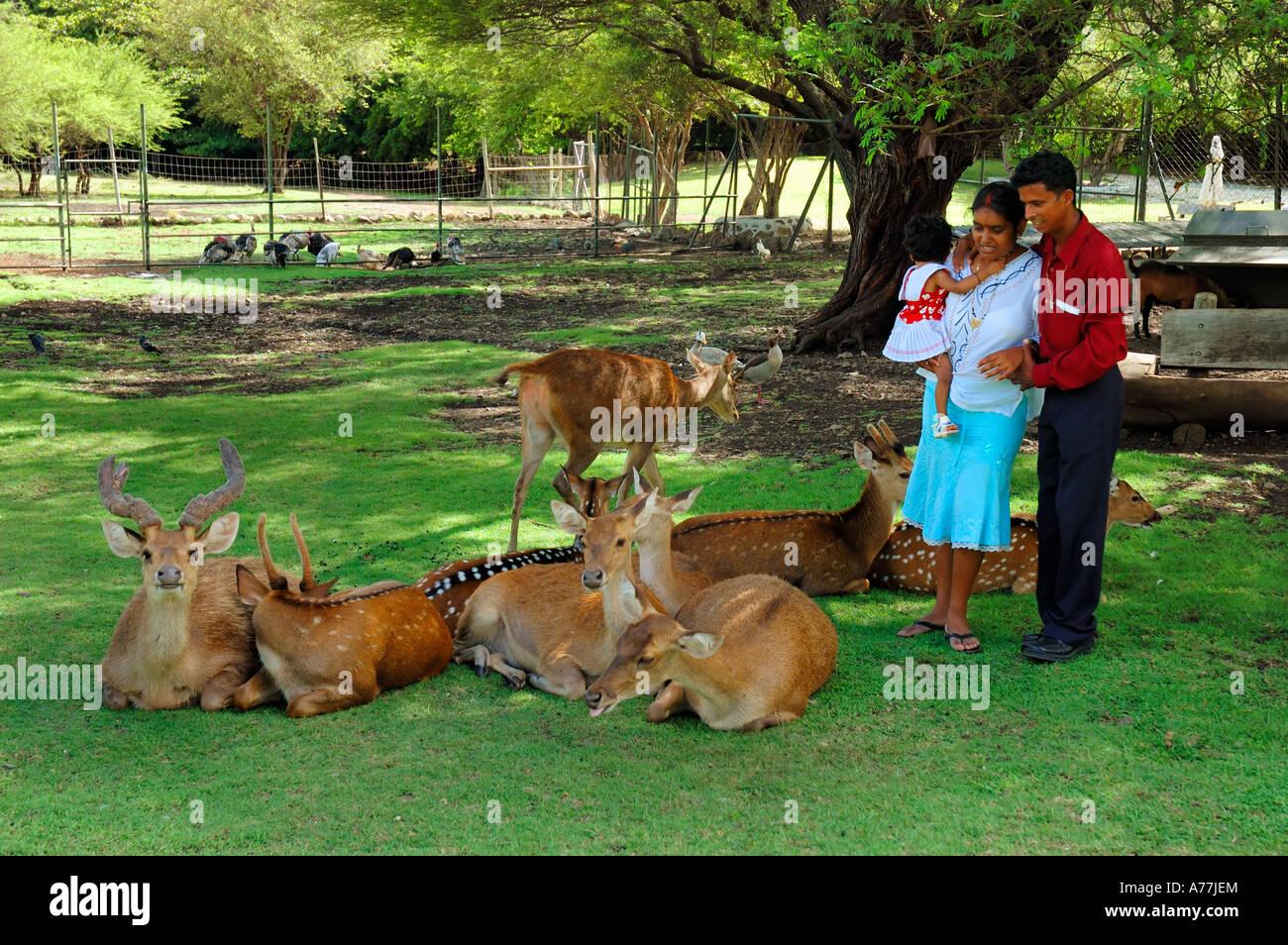 Mauritian Family Casela Yemen Nature Leisures Park Mauritius island - Stock Image