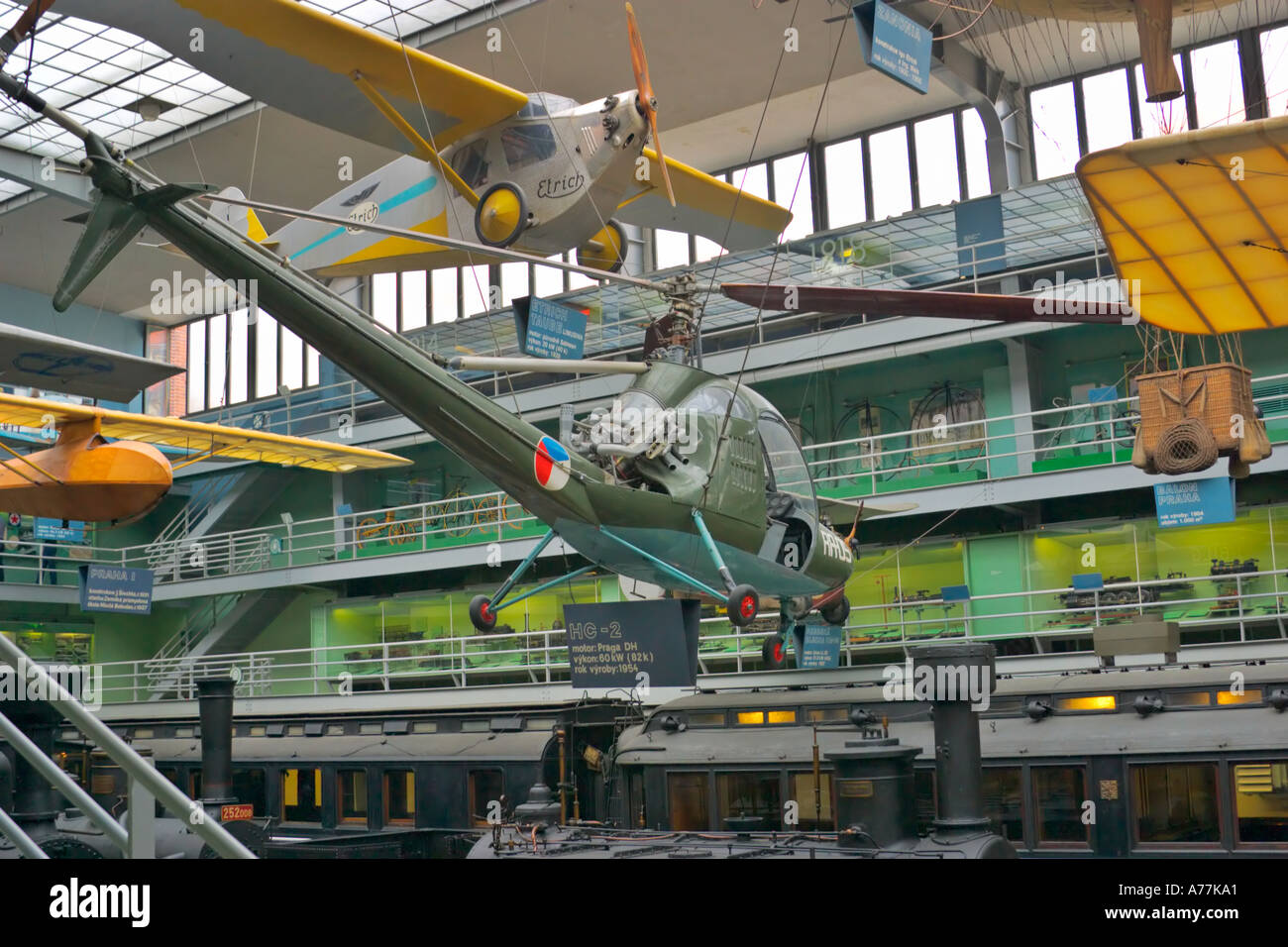 Czechoslovakian experimental helicopter Aero HC 2 Heli Baby at the National Technical Museum in Holesovice district Prague Czech - Stock Image