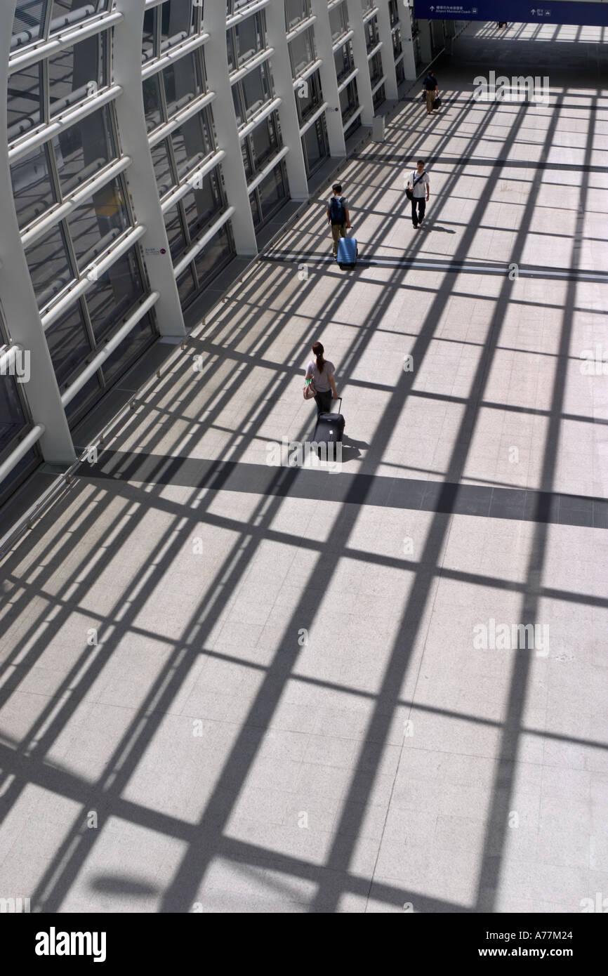 A walkway in Chek Lap Kok airport Hong Kong China - Stock Image