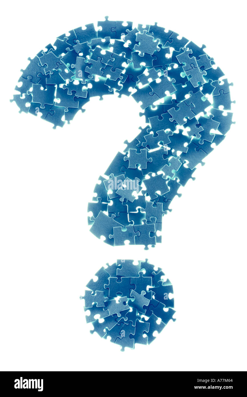 Backlit question mark made from puzzle pieces on a white background - Stock Image