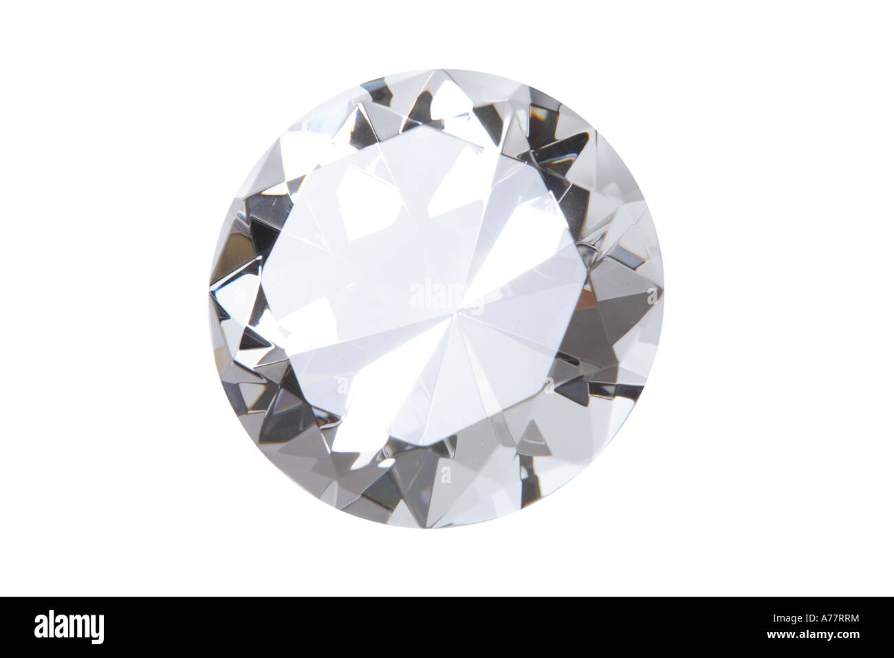 Diamond cut out on white background - Stock Image
