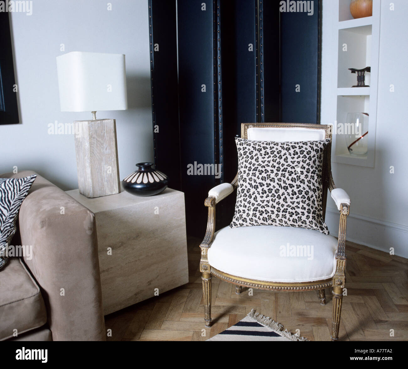 Classic Living Room Showing Sofa Folding Screen French Style