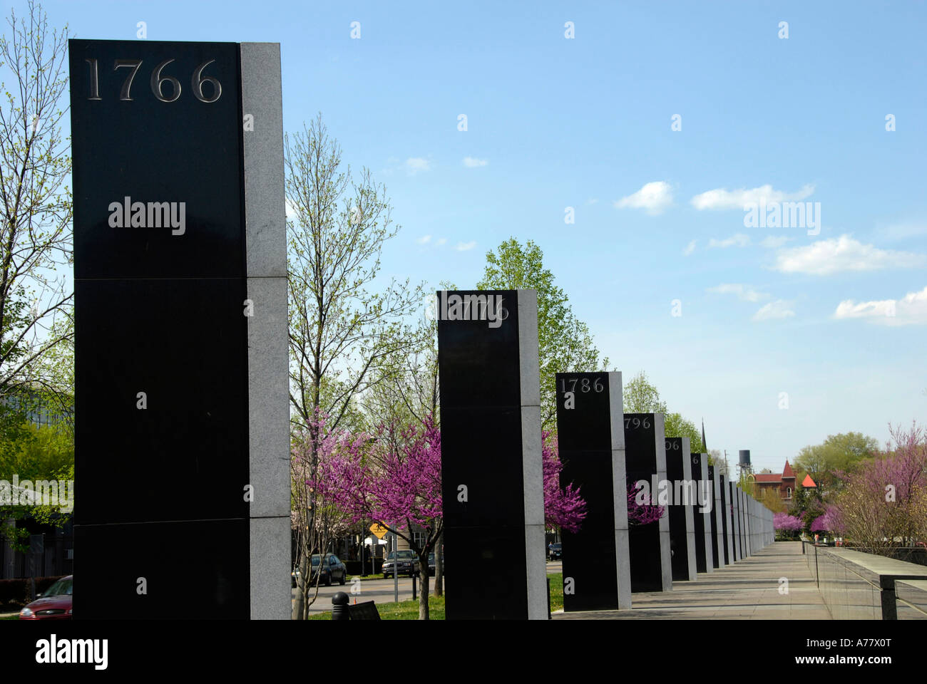 Granite Timeline of Tennessee and American History Tennessee Bicentennial Capitol Mall State Park Nashville Tennessee - Stock Image