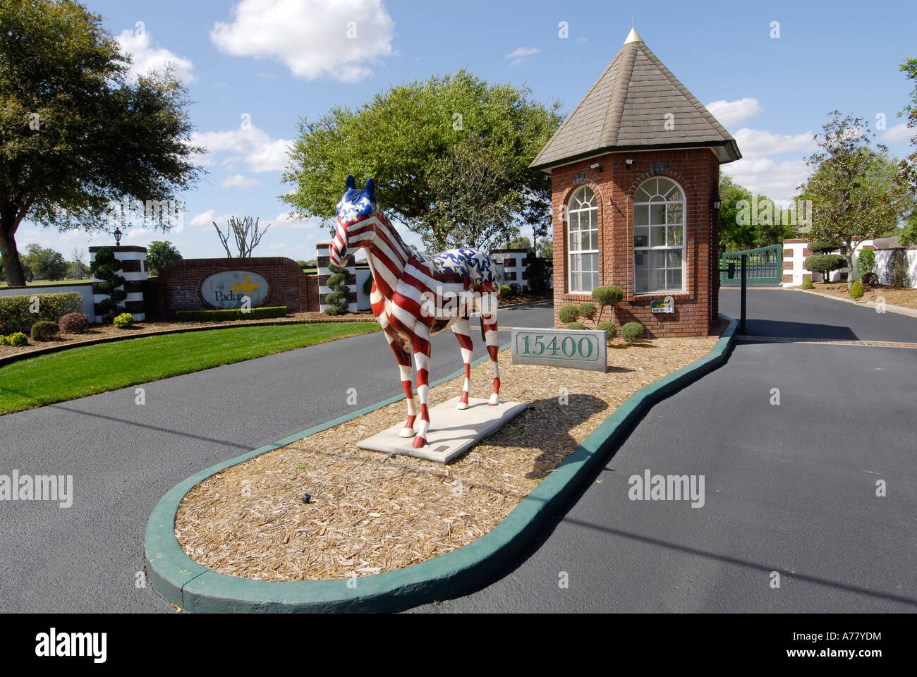Horse statue display honors the horse farming country at Padua horse farm surrounding Ocala Florida FL - Stock Image