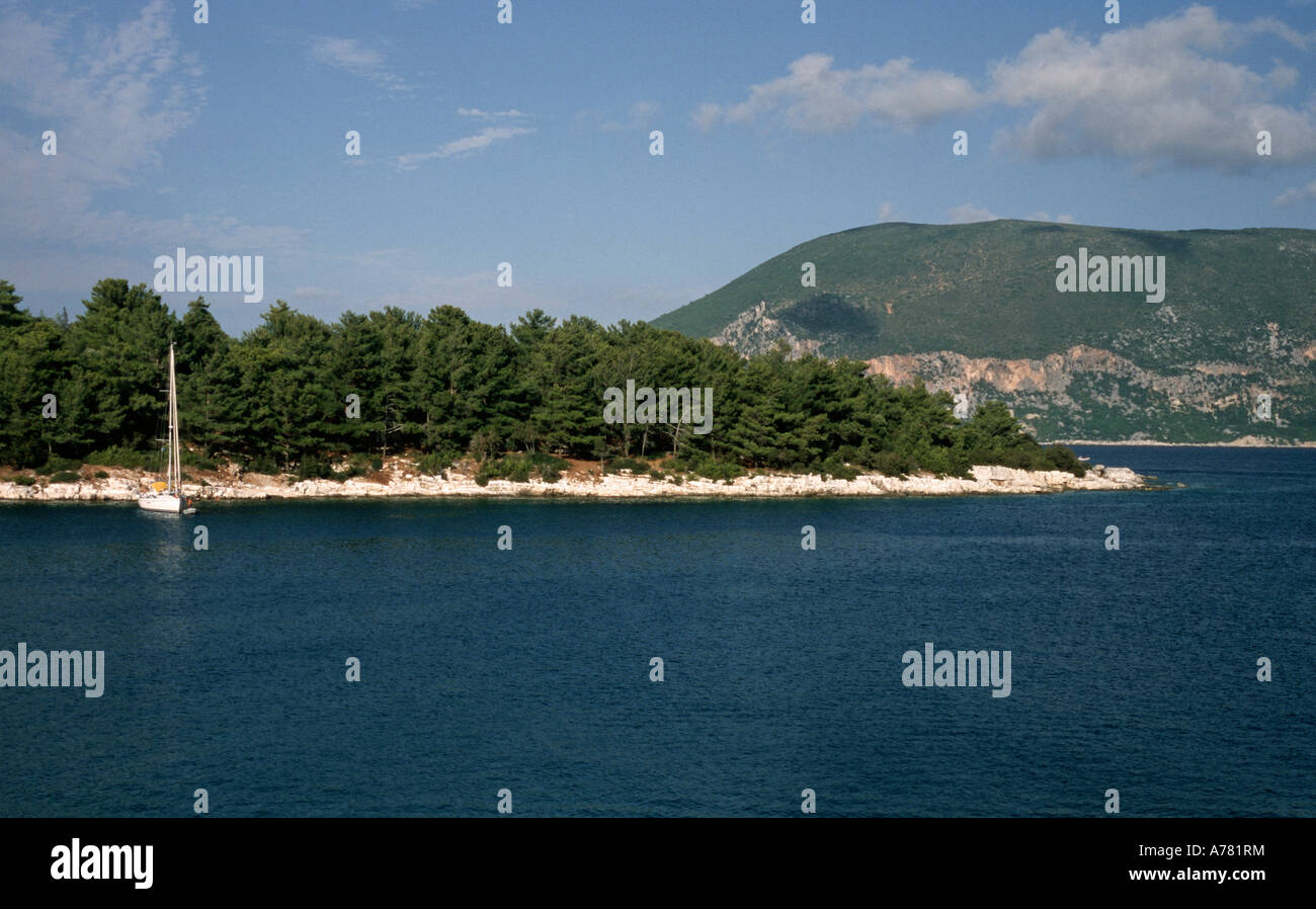 headland near Fiskardo the most northerly harbour in Kefalonia Island Greece - Stock Image
