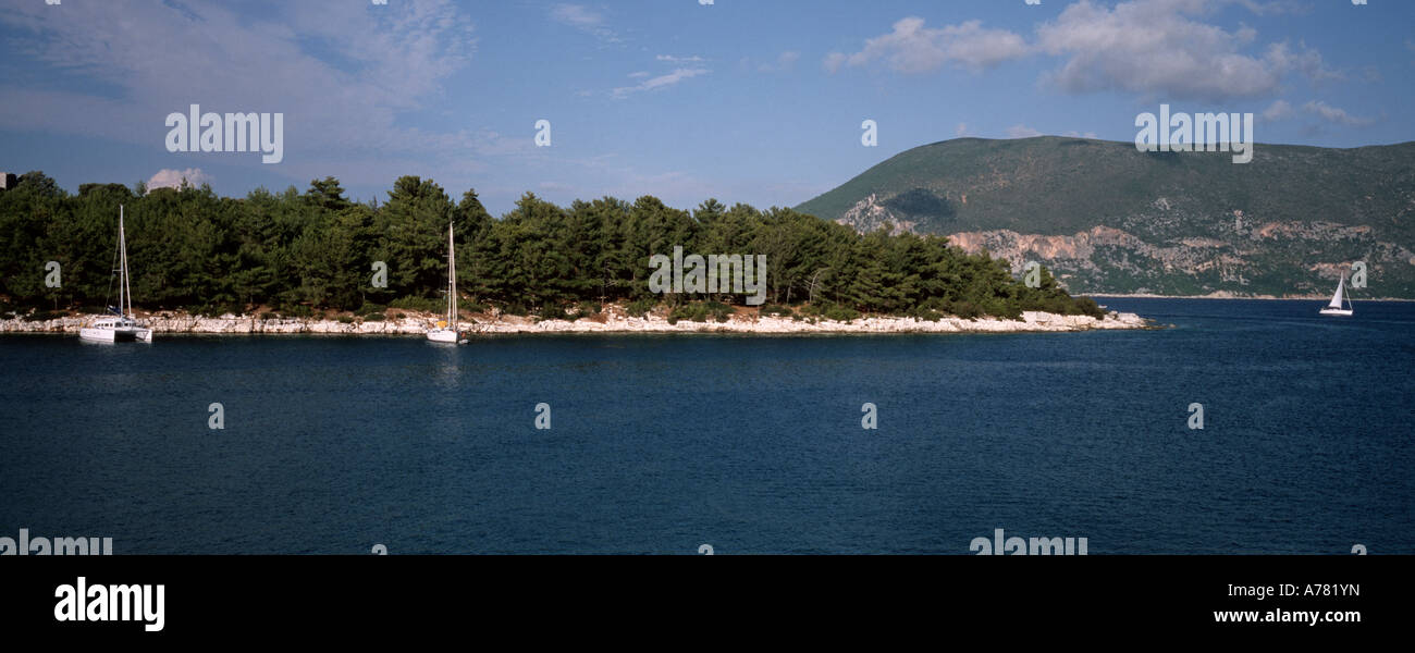 a panoramic view of the coast near Fiskardo the most northerly harbour in Kefalonia Island Greece - Stock Image