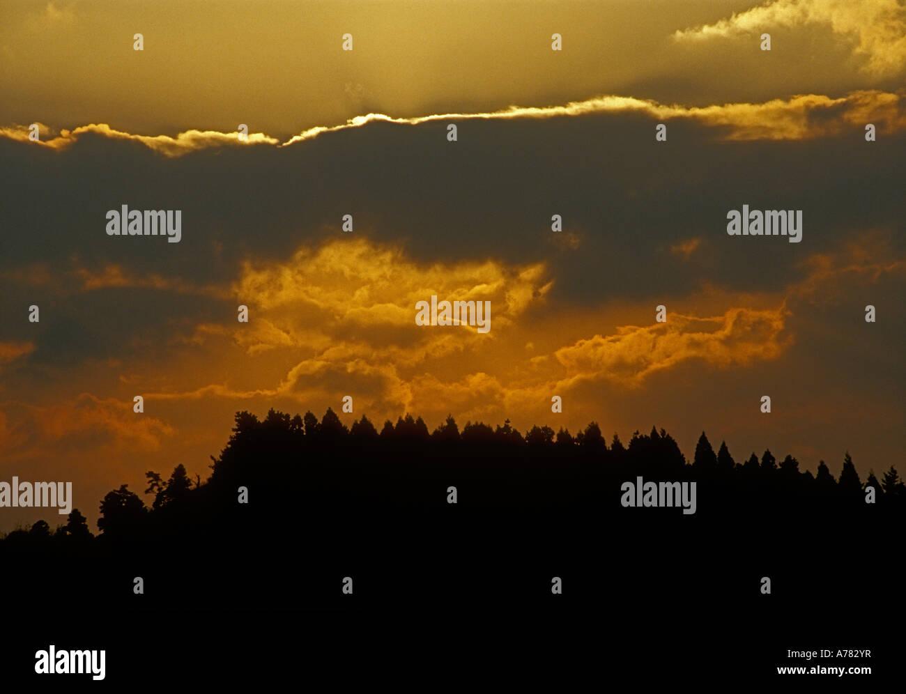 sunset landscape Kyushu Japan - Stock Image
