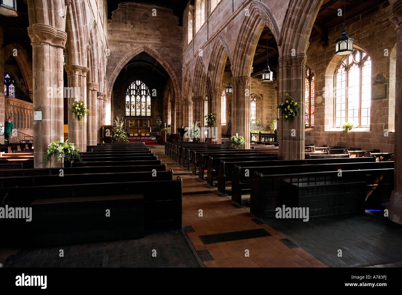 UK Cheshire Vale Royal Great Budworth St Marys Parish church interior Stock Photo