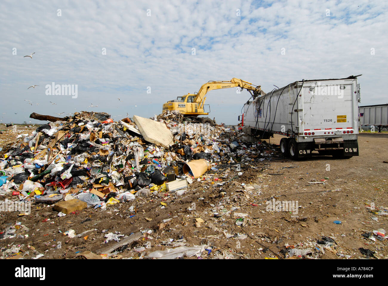Reduce Reuse Recycle Landfill - Stock Image