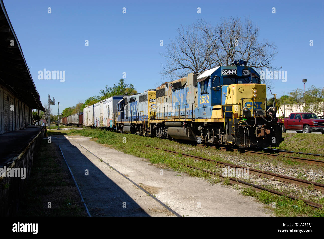 Freight Train in Central Florida FL FLA USA US - Stock Image