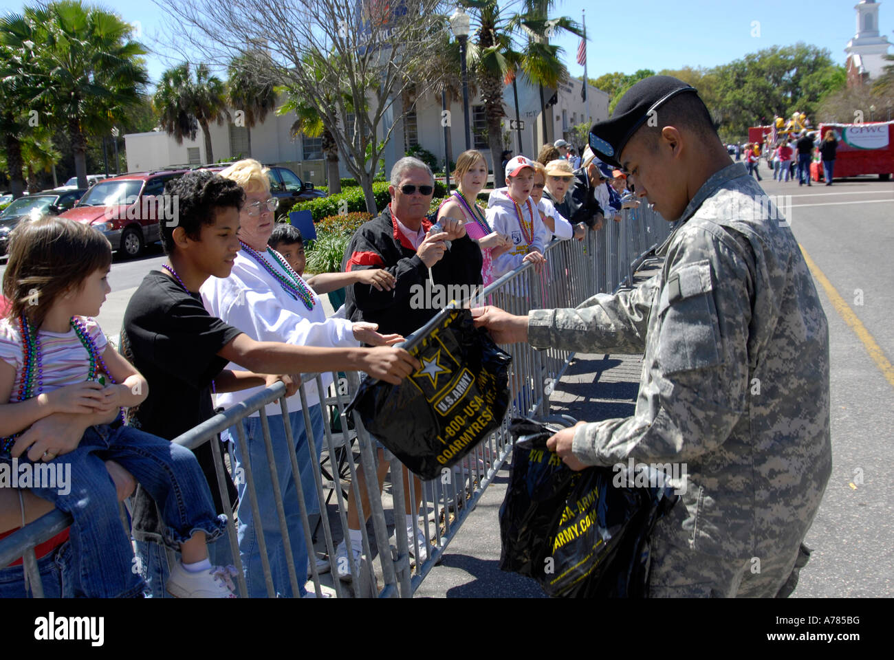 U S Army Recruiters Participate in Strawberry Festival Parade Plant City Florida FL FLA USA US - Stock Image