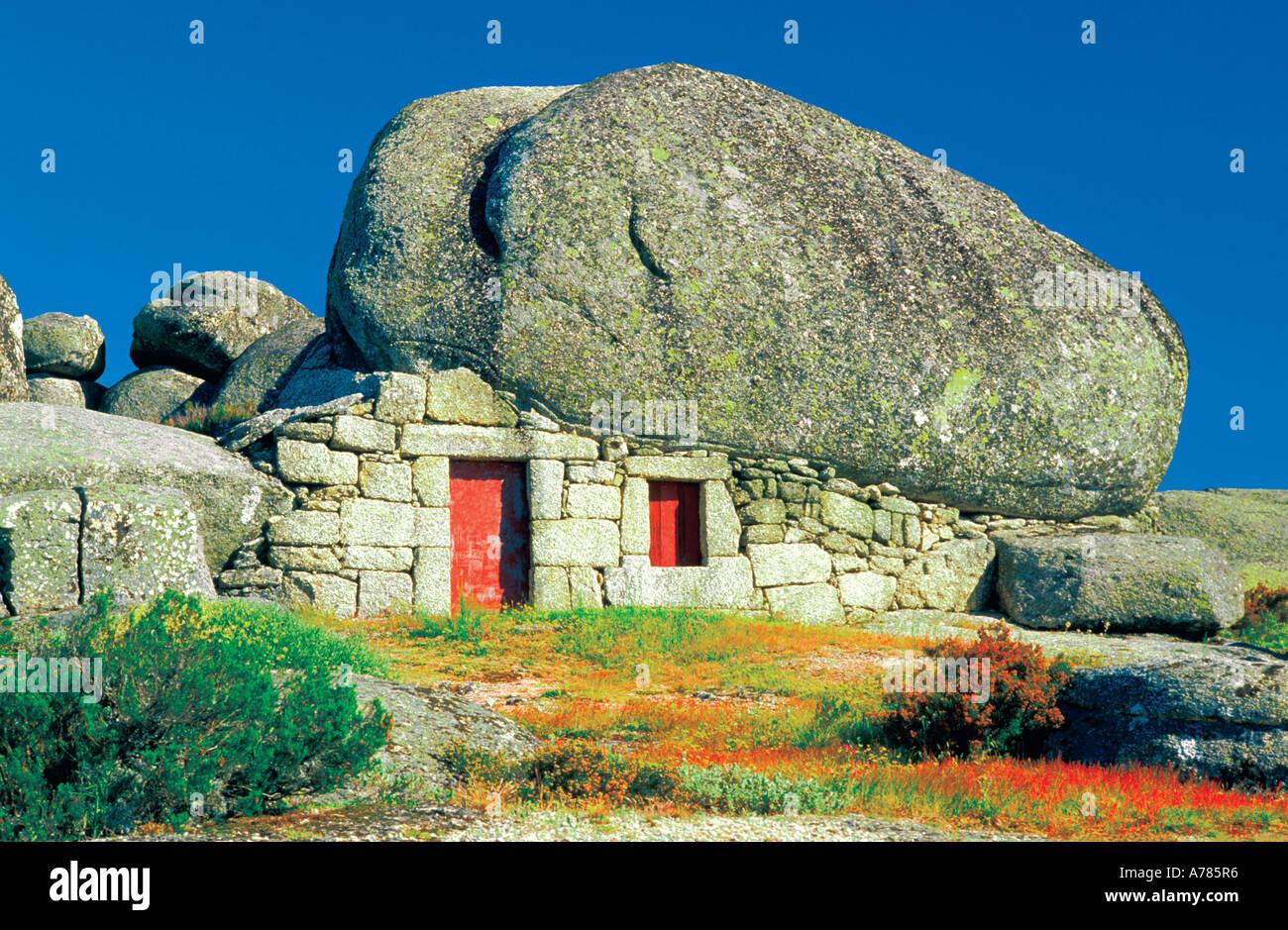 Typical granit house of the Serra da Estrela Penhas da Saude Portugal - Stock Image
