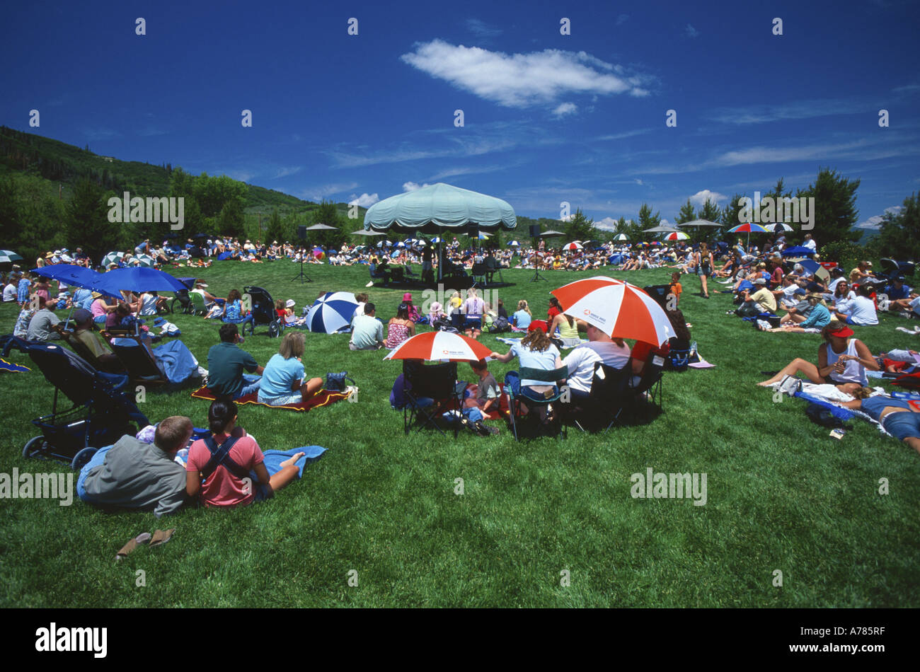Crowd at outdoor concert Yampa river botanic park, Steamboat Springs, Colorado, USA. - Stock Image