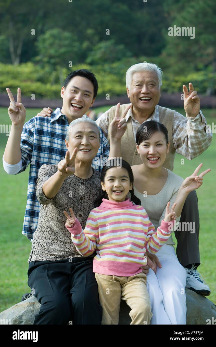 Three generation family in park, portrait Stock Photo