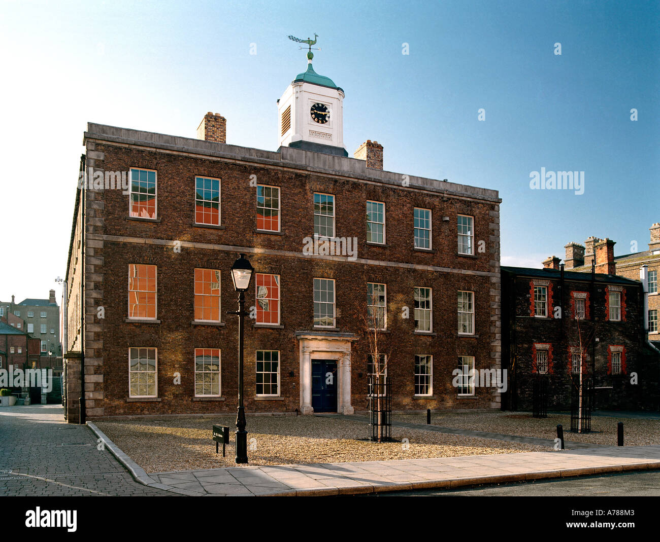 The old carriage house in Dublin Castle, now part of the Chester Beatty Library, Ireland - Stock Image
