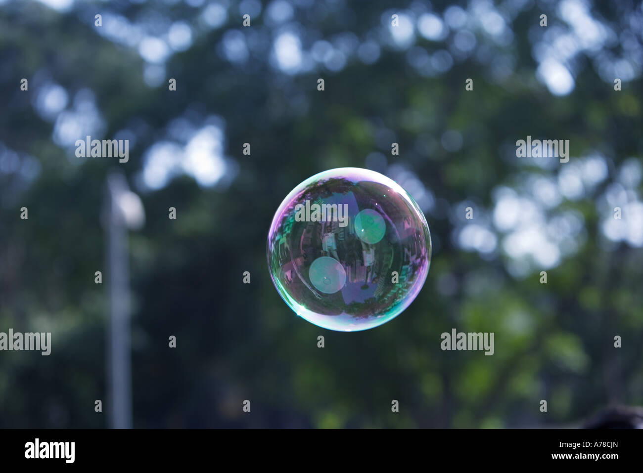 Bubble floating in air - Stock Image
