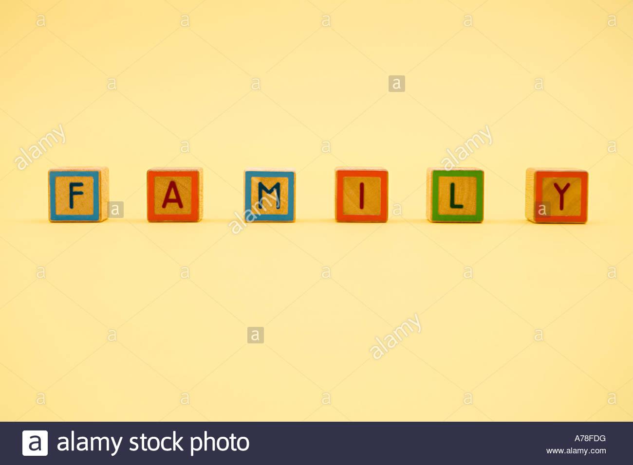 Building blocks spelling family - Stock Image