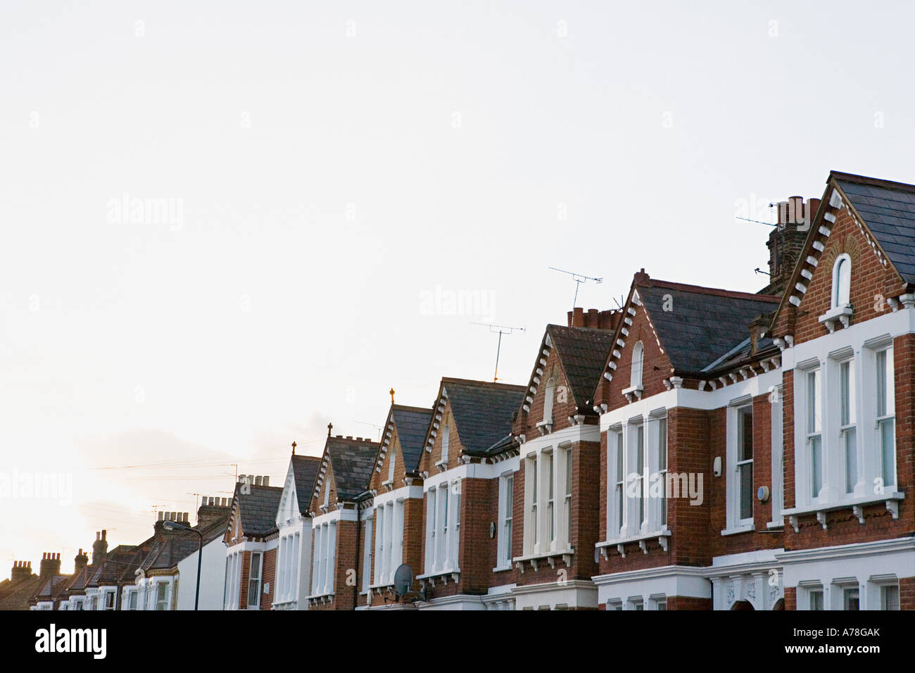 Street of terraced houses - Stock Image