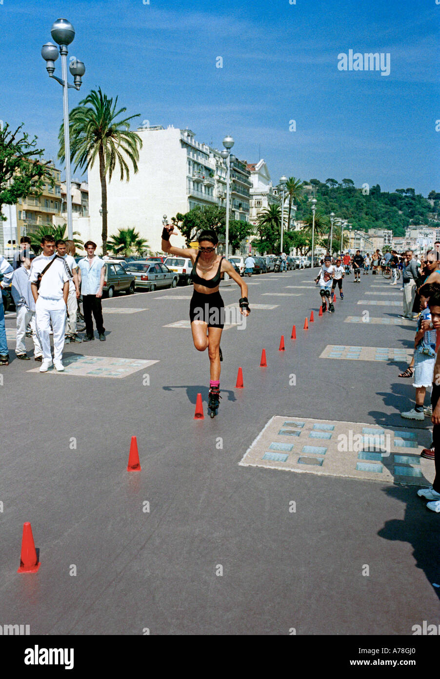Rollerblading  on the Promenade des Anglais, Nice, on the Cote d'Azur, French Riviera, France Stock Photo