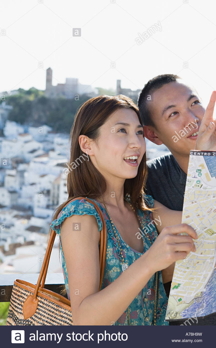 Couple sightseeing - Stock Image