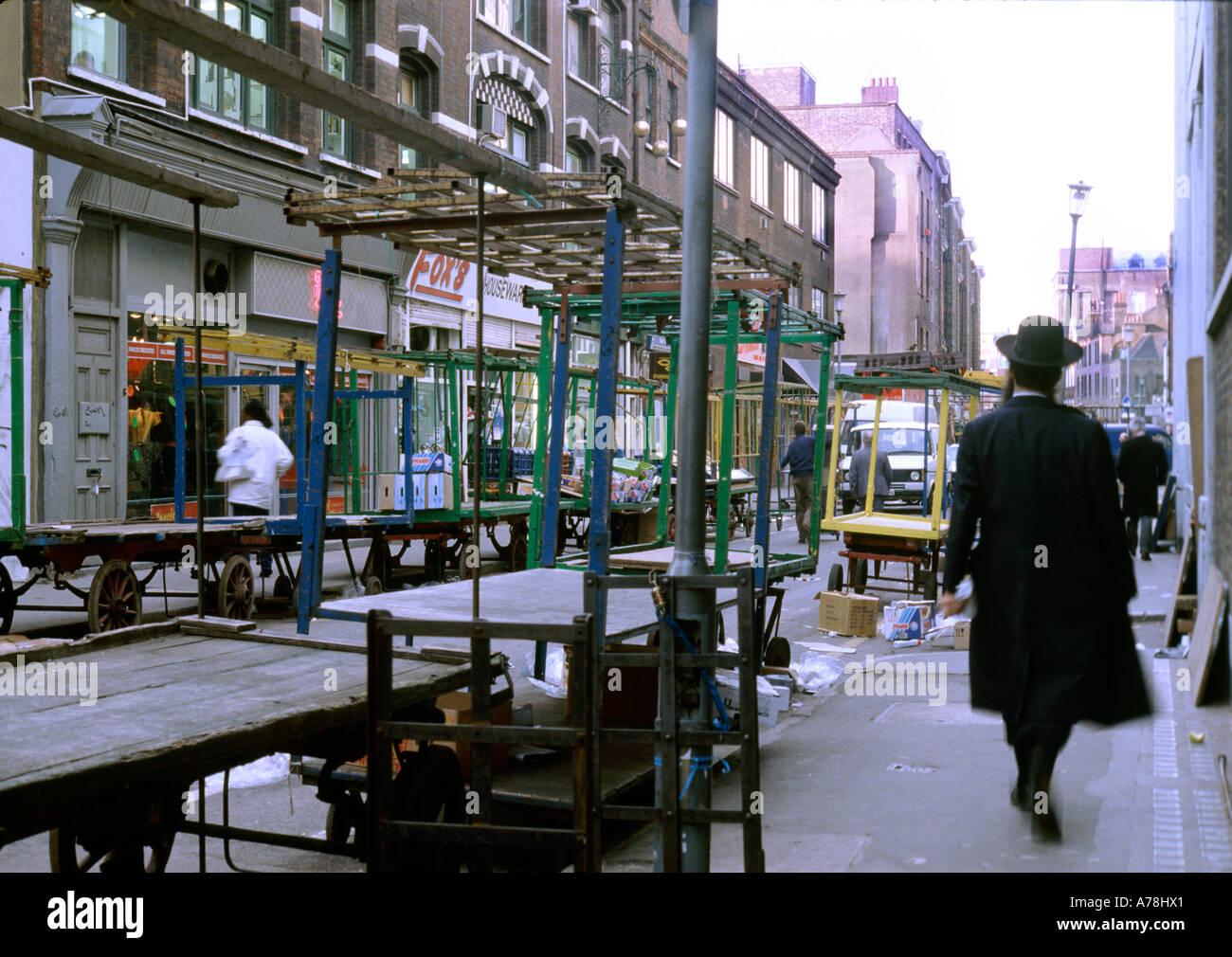 Male Jew walking in Leather lane market London Uk. - Stock Image
