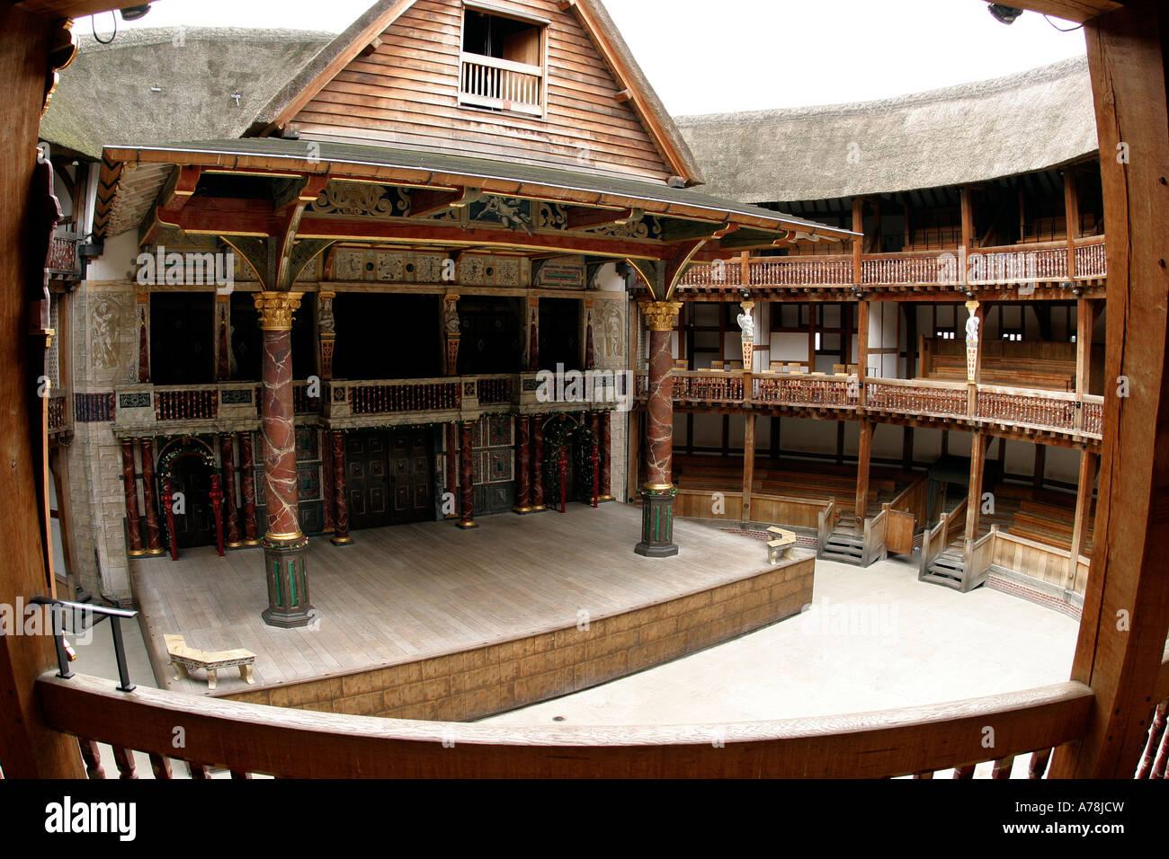 UK London Bankside Shakespeares Globe Theatre stage and auditorium - Stock Image