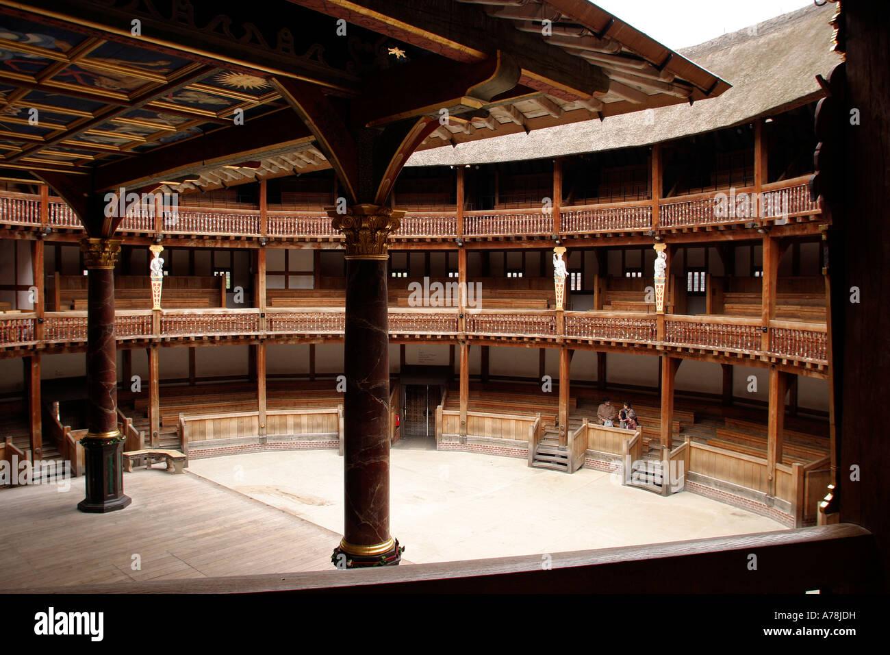 UK London Bankside Shakespeares Globe Theatre the auditorium - Stock Image